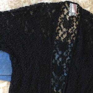 Mauve Black Lace with Fringe Size Medium Cardigan